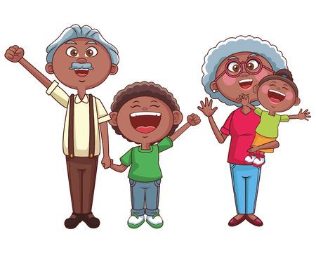 grandparents family grandchildren vector illustration graphic design