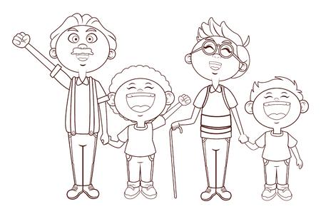 grandfather elder afro grandchildren vector illustration graphic design