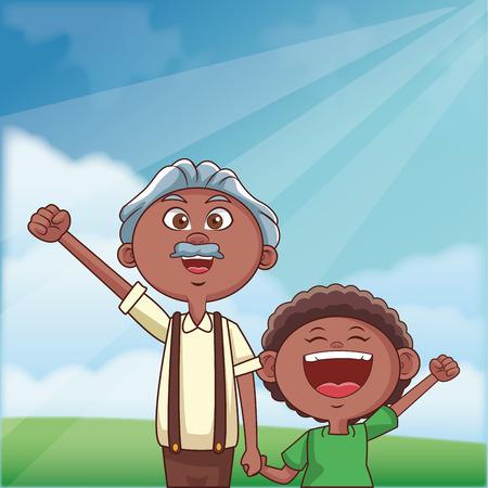 grandfather elder afro grandson vector illustration graphic design