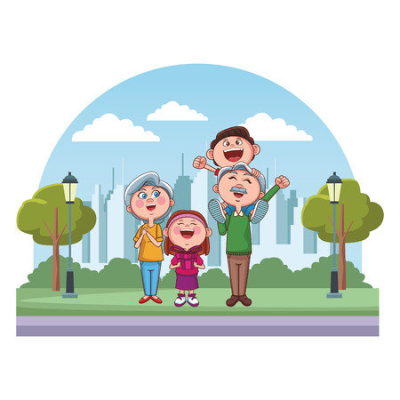 grandparents family grandchildren vector illustration graphic design