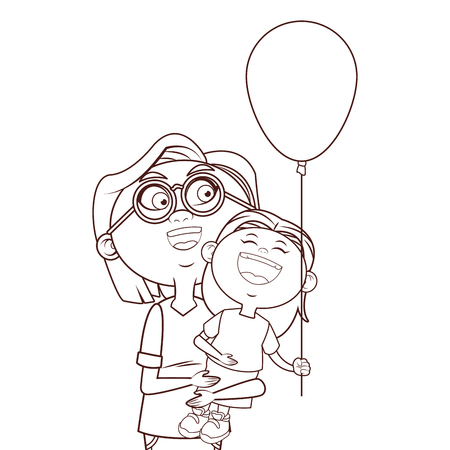 grandmother elder granddaughter balloon vector illustration graphic design