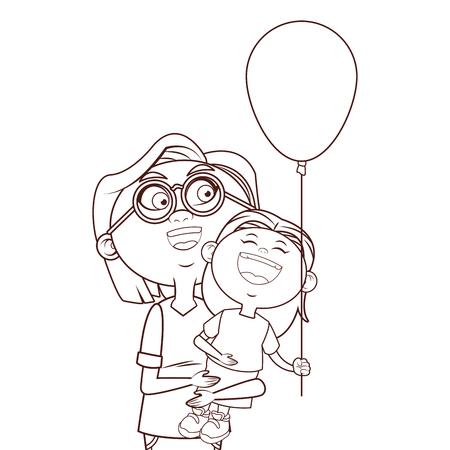 grandmother elder granddaughter balloon vector illustration graphic design