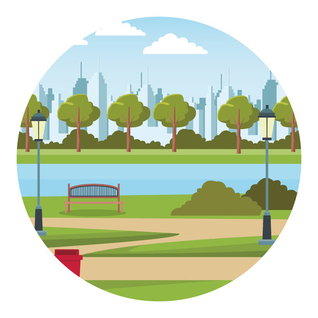 city urban park lake vector illustration graphic design Çizim