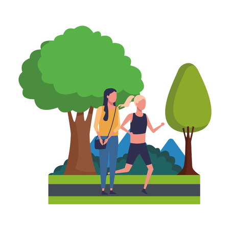 faceless girls sports excercise cheerful  at nature park vector illustration graphic design