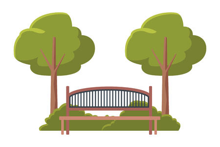 bench wooden furniture in park vector illustration graphic design Illustration