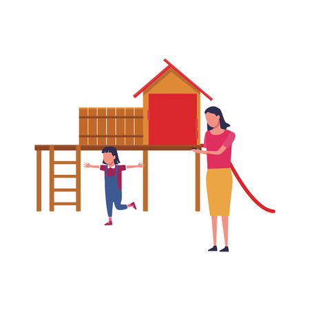 Family single mother with daughter playing in playground vector illustration graphic design