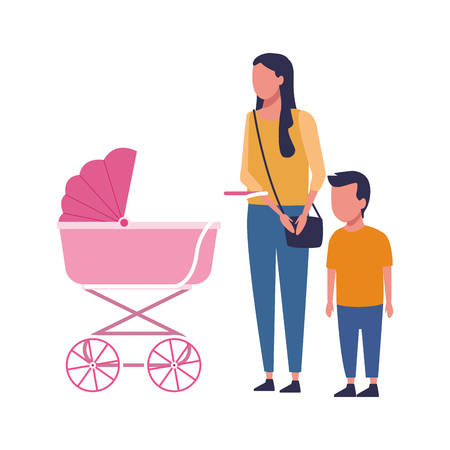 Family mother and son with pram vector illustration graphic design