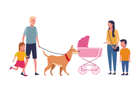 Family father and mother with pram kids and dog vector illustration graphic design