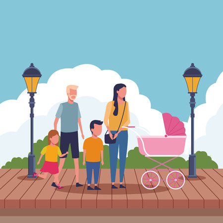 Family parents with pram and kids at park with wooden floor vector illustration graphic design