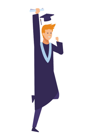 Student man with graduation gown and hat vector illustration graphic design