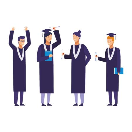 graduation ceremony people vector illustration graphic design