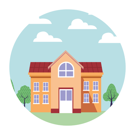 university campus house vector illustration graphic design