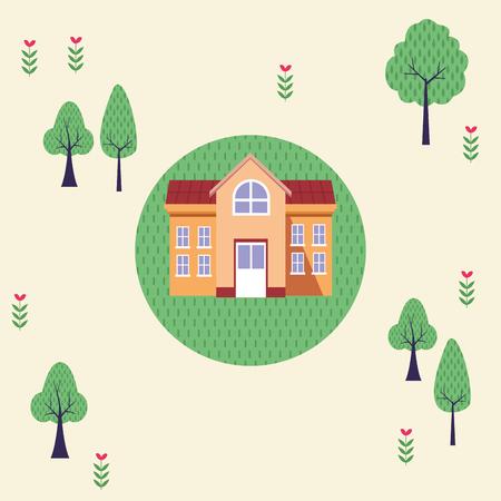 University building in park topview scenery cartoon vector illustration graphic design Çizim