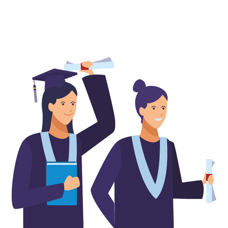 Students graduation ceremony women friends with diplomas cartoons vector illustration graphic design