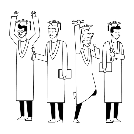 Students in graduation ceremony with gowns and hats vector illustration graphic design