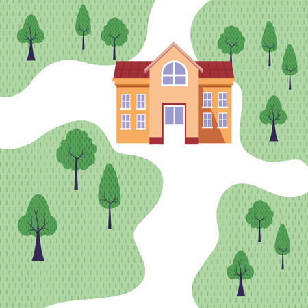 University building in park topview scenery cartoon vector illustration graphic design Çizim