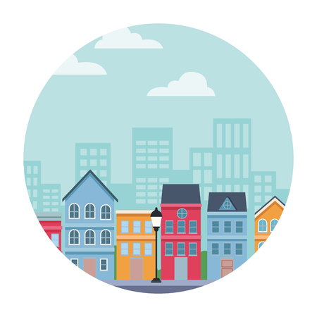 city block neighborhood street vector illustration graphic design