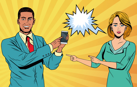Pop art business couple with speech bubble holding phone with yellow striped background vector illustration graphic design