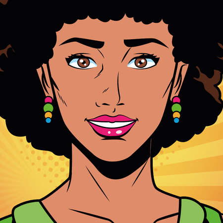 Pop art beautiful black woman face cartoon vector illustration graphic design