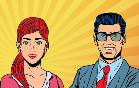 Pop art business woman and man smiling with yellow striped background vector illustration graphic design