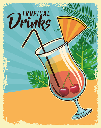 tropical cocktail drink with beach scenery grunge poster vector illustration graphic design