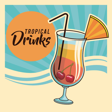 tropical cocktail drink retro striped blue poster vector illustration graphic design Иллюстрация