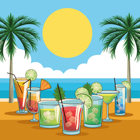 tropical cocktail drinks with fruits over beach background vector illustration graphic design