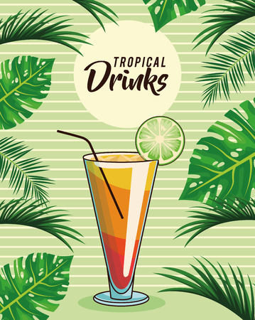 tropical cocktail drink poster with palm leaves background vector illustration graphic design