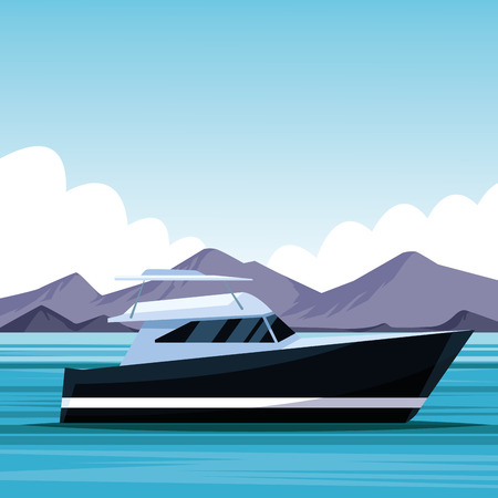 yacht boat in the sea on mountains landscape cartoon vector illustration graphic design
