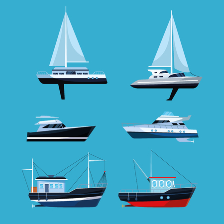 boat collection cartoon set over flat blue background vector illustration graphic design Illustration