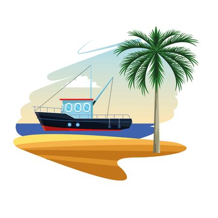 Barco de pesca en el mar cerca de la costa de la isla de dibujos animados fondo blanco plano ilustración vectorial diseño gráfico