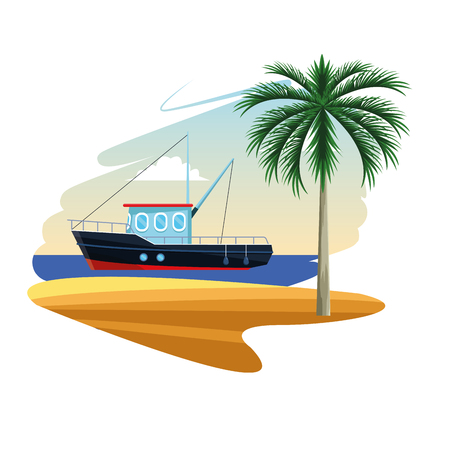 vissersboot in de zee in de buurt van de kust van het eiland cartoon platte witte achtergrond vector illustratie grafisch ontwerp