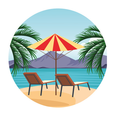 seashore landscape with beach chairs mountains scenery cartoon over white background vector illustration graphic design