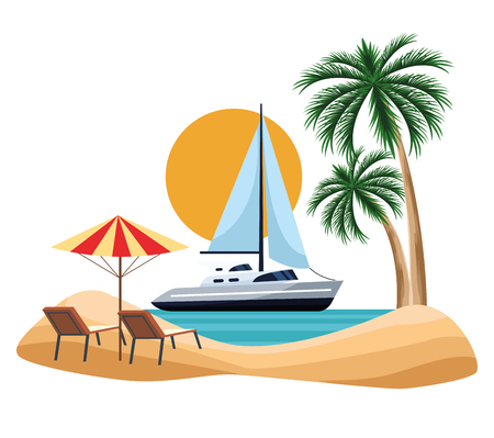 seashore landscape with sailboat and beach chairs cartoon over white background vector illustration graphic design Ilustração