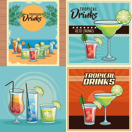 tropical cocktail drinks retro set isolated poster vector illustration graphic design Vektorové ilustrace