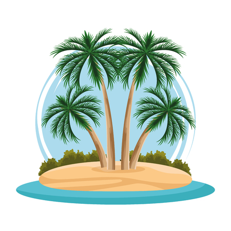 island landscape cartoon isolated white background vector illustration graphic design