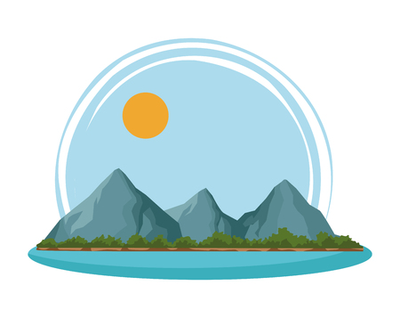 mountain island landscape with sunny sky cartoon vector illustration graphic design