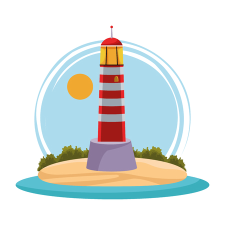 seashore landscape with lighthouse over isolated white background cartoon vector illustration graphic design