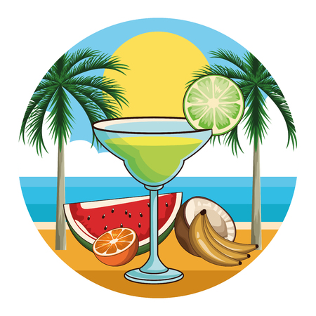 tropical cocktail drink with fruits over beach background icon vector illustration graphic design