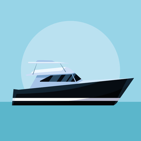 yacht boat in the sea over flat blue background cartoon vector illustration graphic design Vettoriali