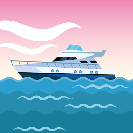 yacht boat over sea waves with pink sky cartoon vector illustration graphic design