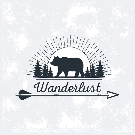 wanderlust wildlife animal wilderness adventure over grunge background vector illustration graphic design Illustration