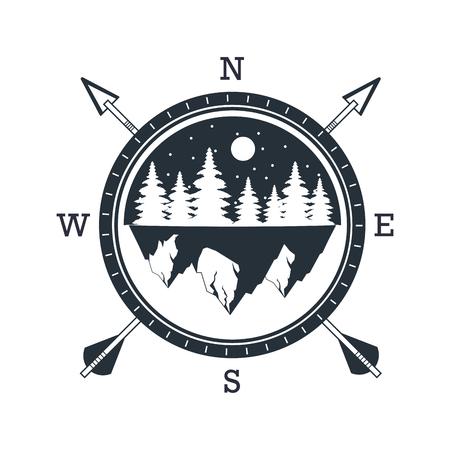 outdoor camping wilderness adventure over flat white background vector illustration graphic design Ilustração Vetorial