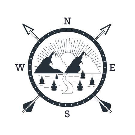 Bergcamping-Wildnis-Abenteuer über flachem weißem Hintergrundvektor-Illustrationsgrafikdesign