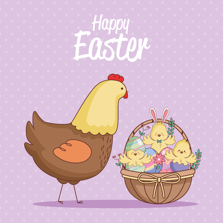 Happy easter day card chickens in basket vector illustration graphic design
