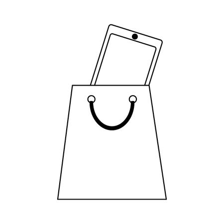 smartphone inside shopping bag vector illustration graphic design