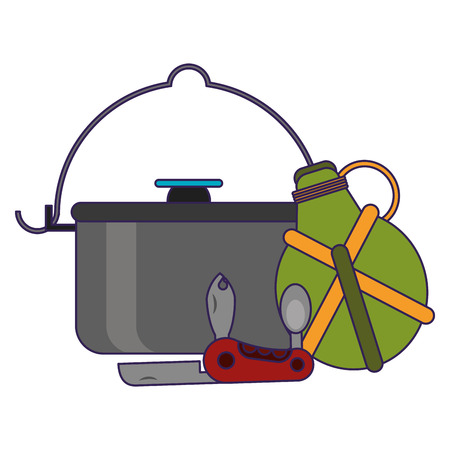Camping lifestyle pot and bottle with knife vector illustration graphic design Vectores