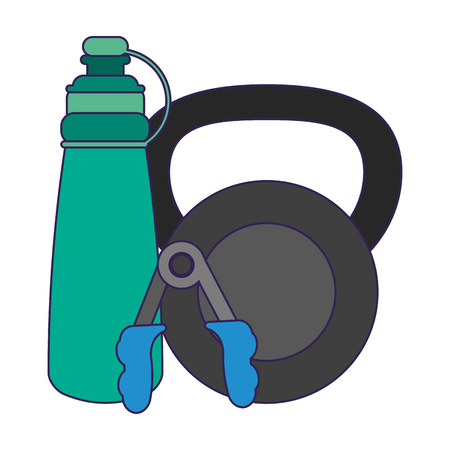 Fitness and gym equipment kettlebell thermo and handgrip vector illustration graphic design Illustration