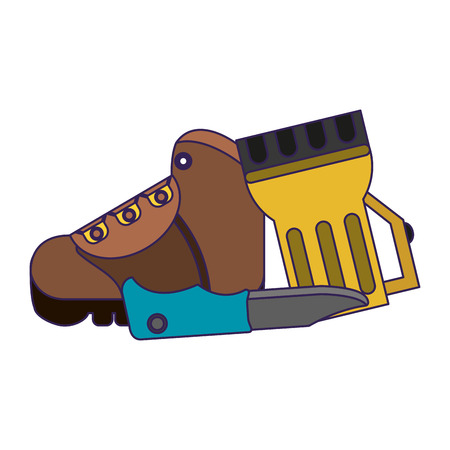 Camping lifestyle boot lantern and knife vector illustration graphic design Vectores