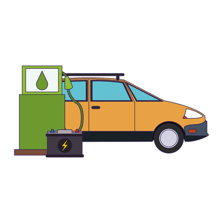 Electric car and electric battery green energy vector illustration graphic design Ilustração